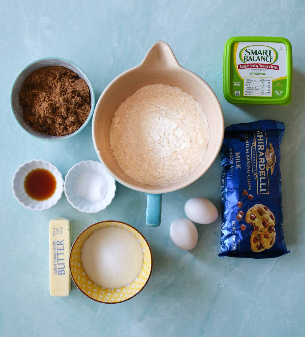 ingredients for the ultimate classic chocolate chip cookies from our best bites