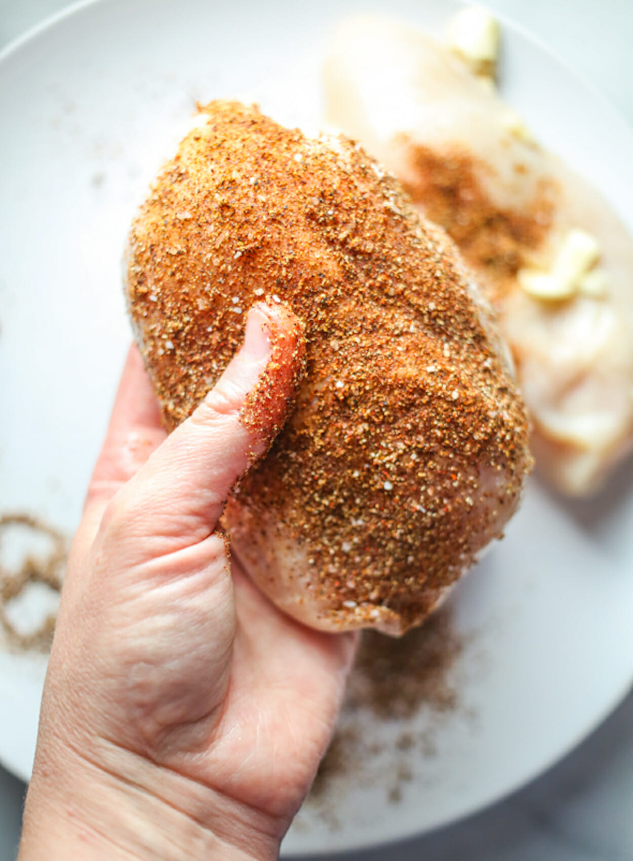 marinated chicken rubbed in spices