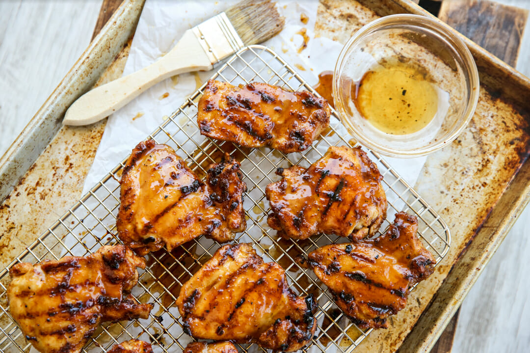 Grilled chicken on rack