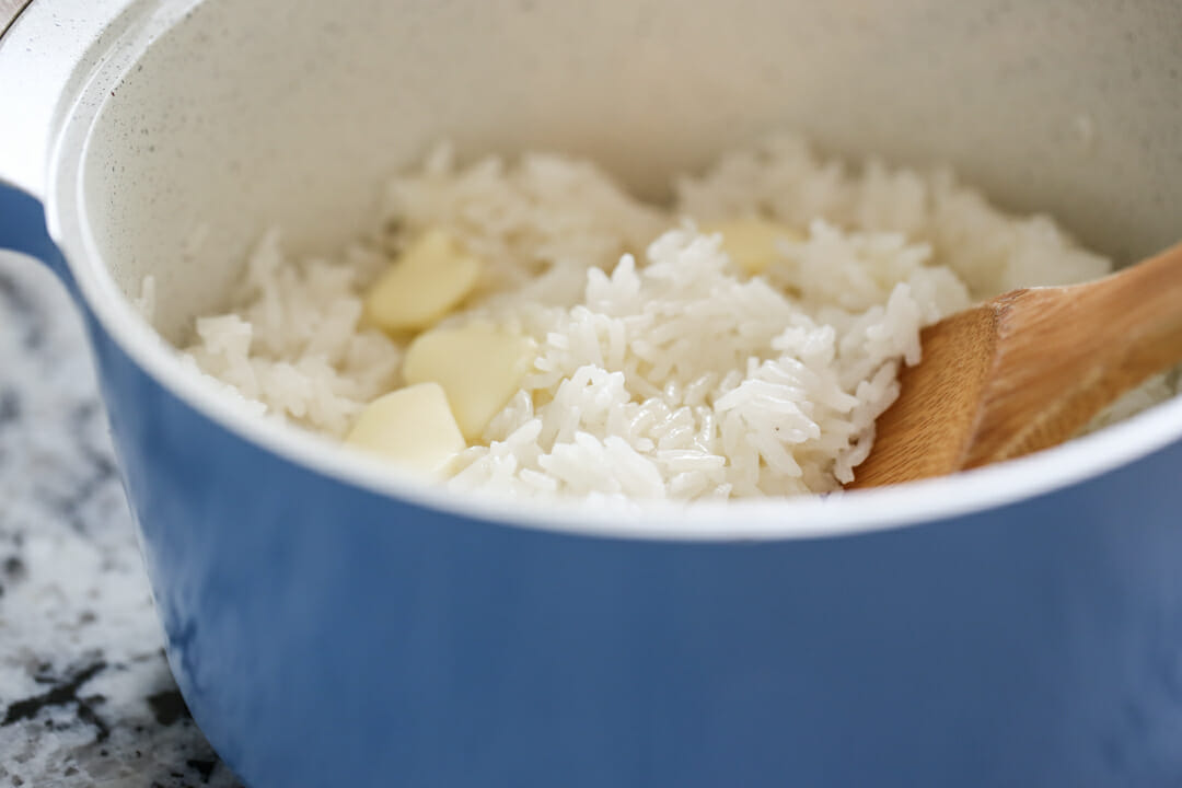 hot buttered rice in pot