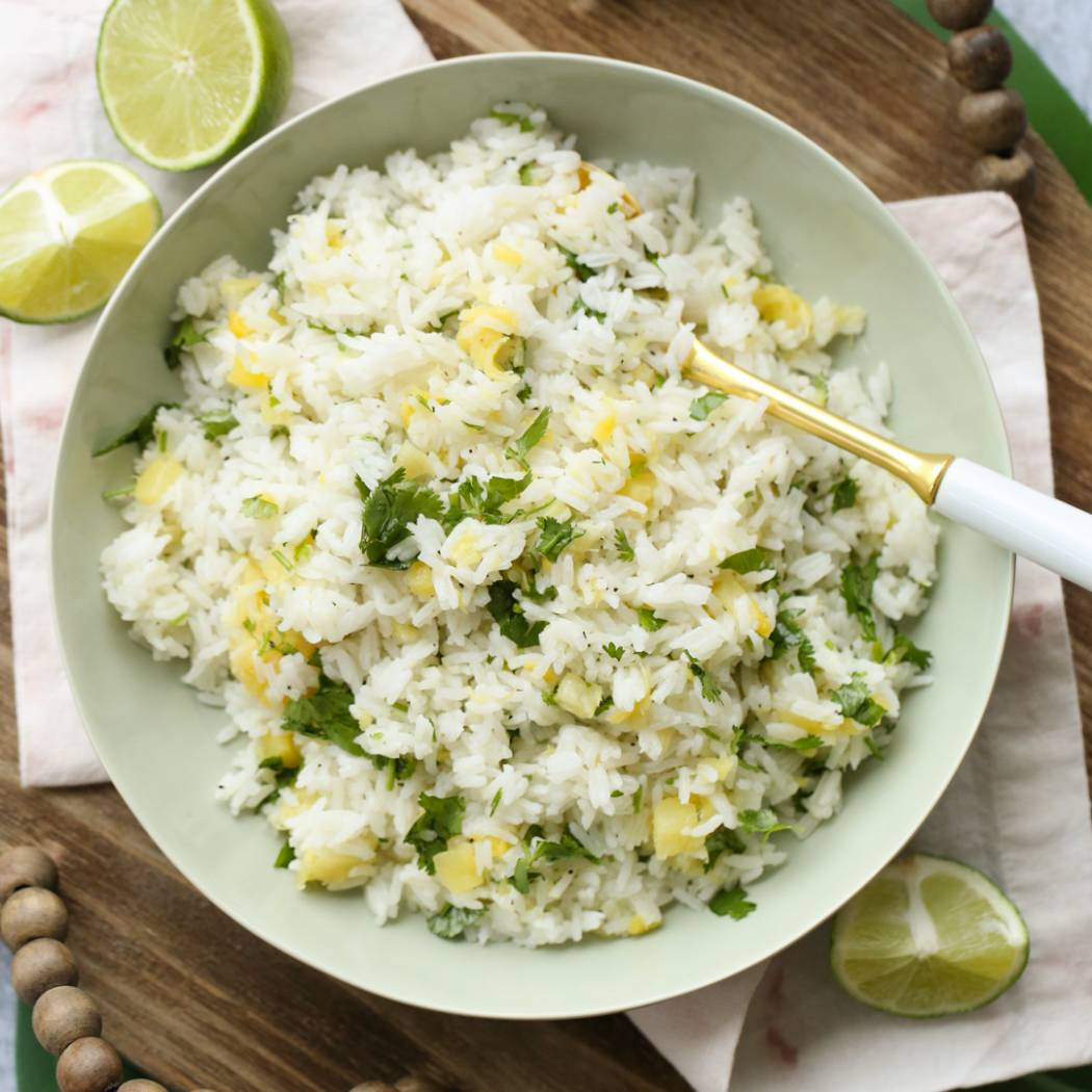 lime cilantro rice with pineapple
