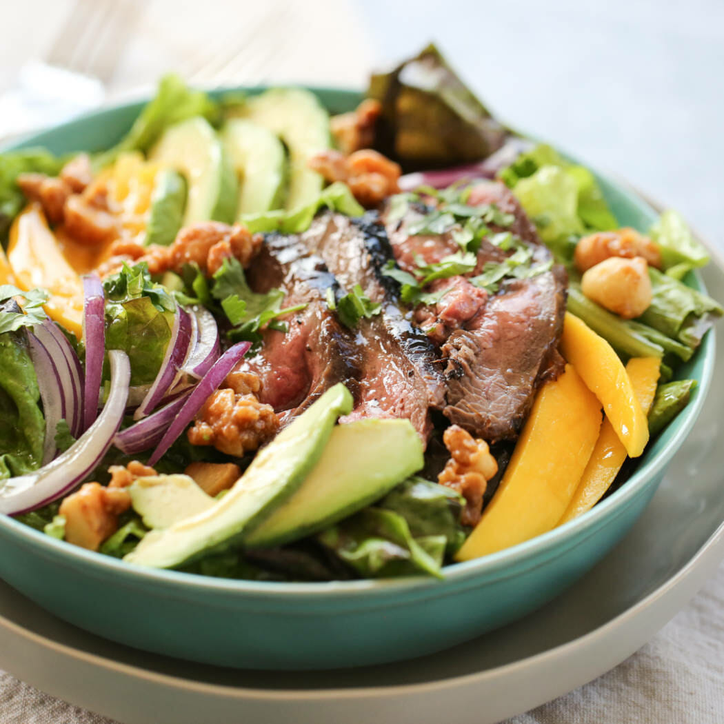 Steak and Mango Salad in bowl