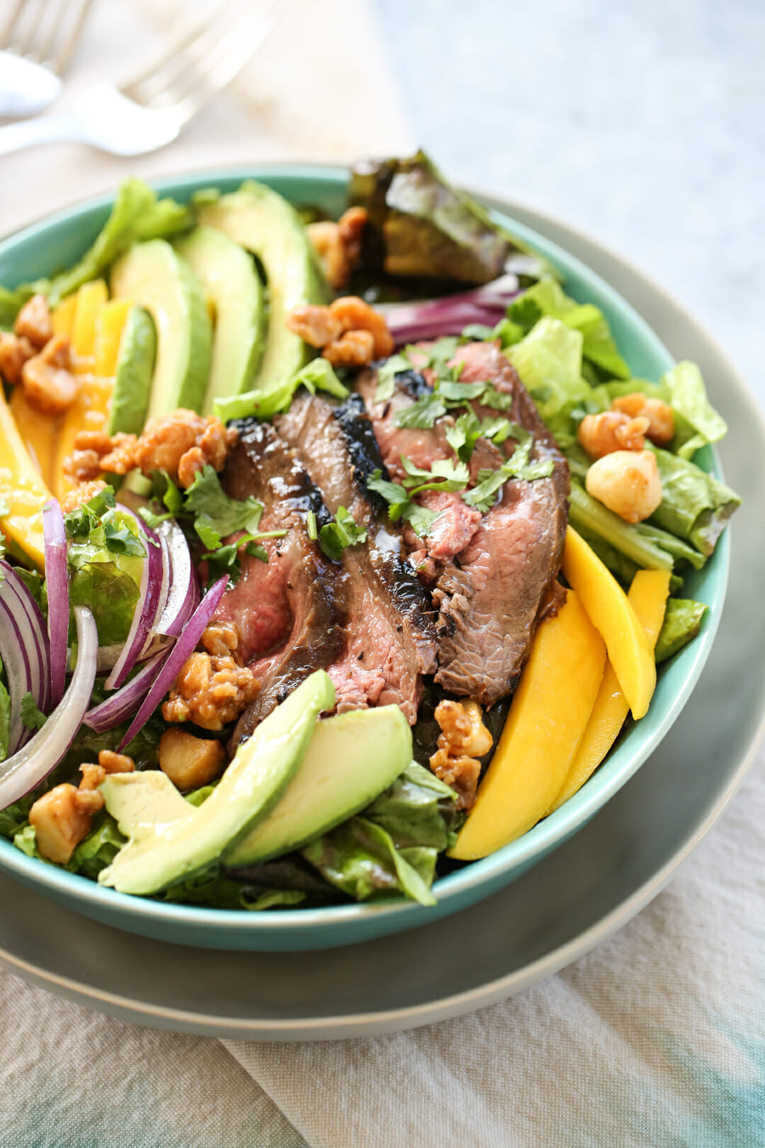 Steak and Mango Salad in bowl
