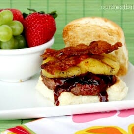 A delicious BBQ Pineapple Bacon Burger recipe.
