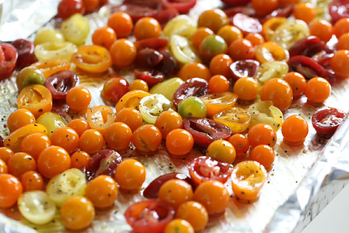 tomatoes on a sheet pan