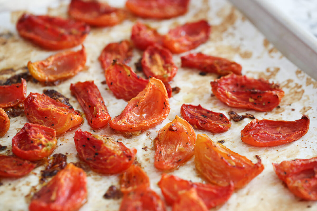 Oven Dried tomatoes on baking sheet