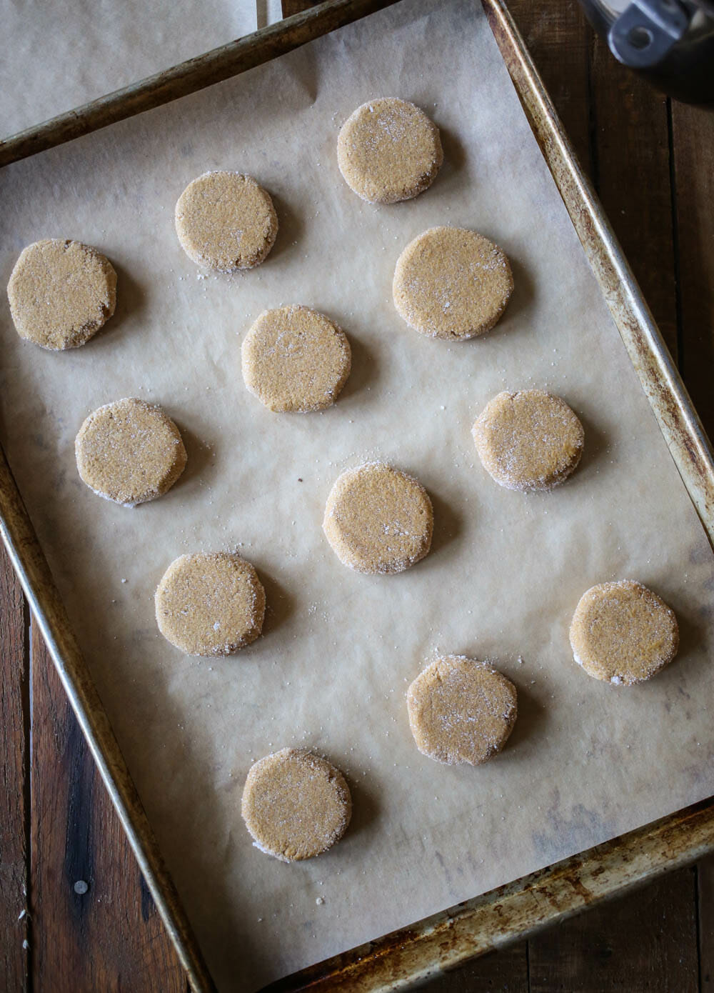 baking sheet of ginger spice cookie dough