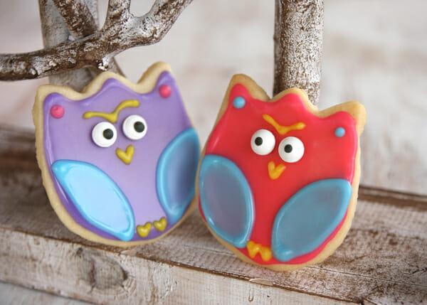 owl iced cookies