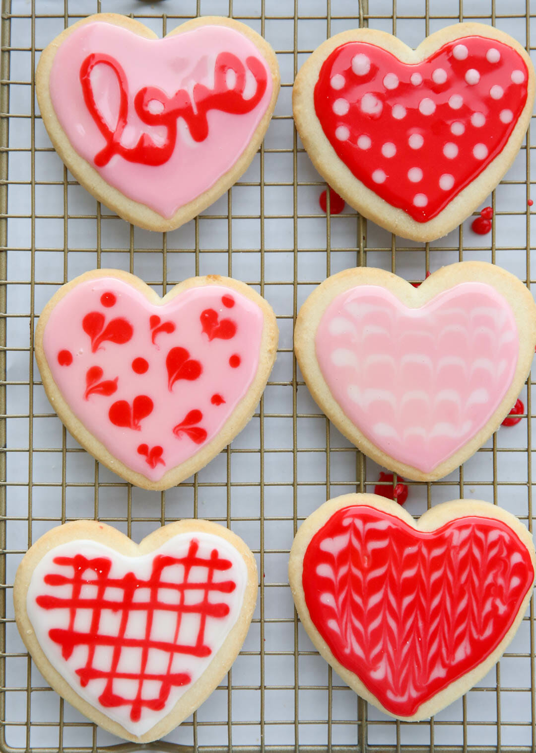 Best Sugar Cookie Icing four heart cookies