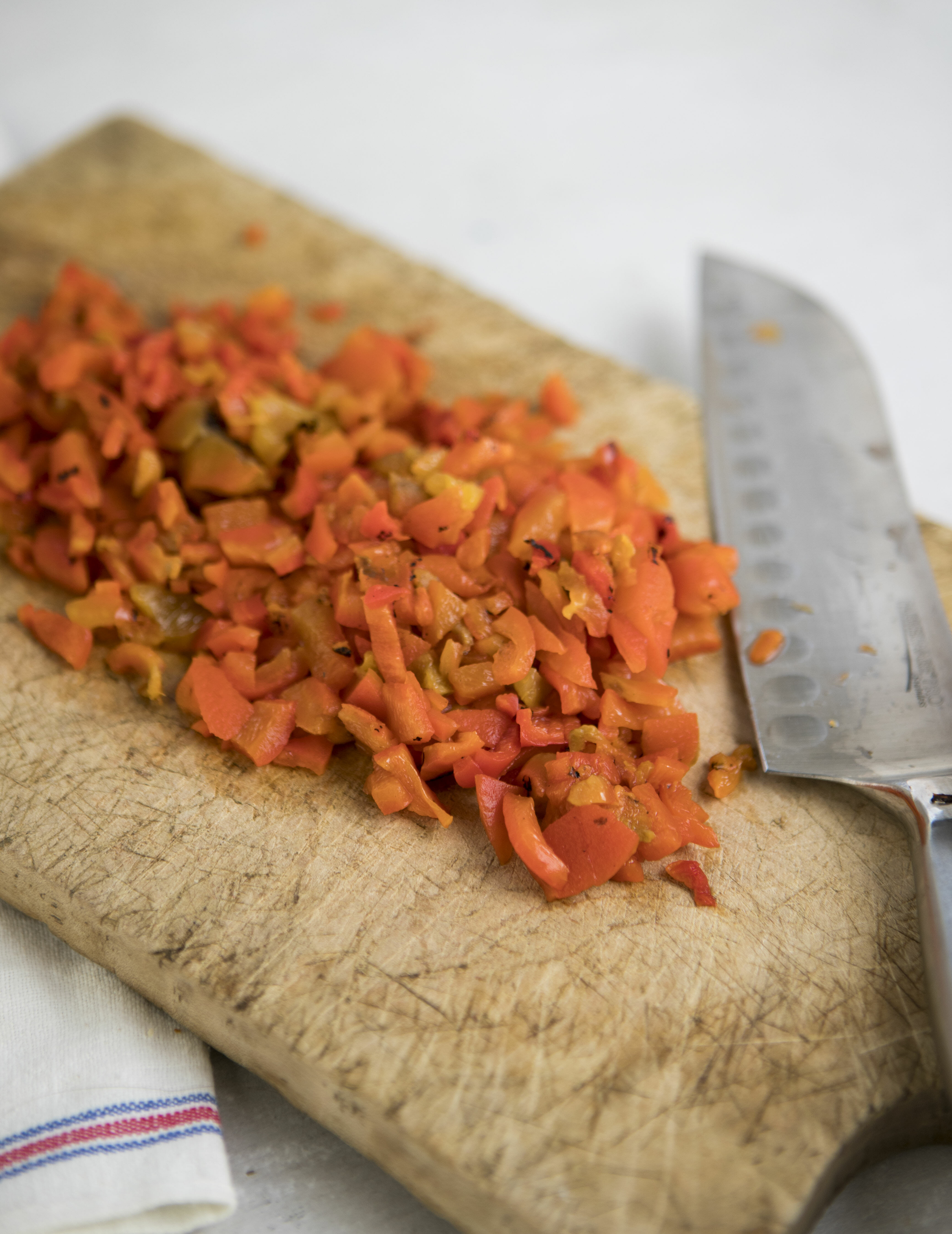 chopped roasted red peppers