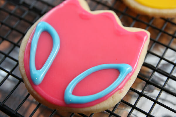 pink and blue iced cookie