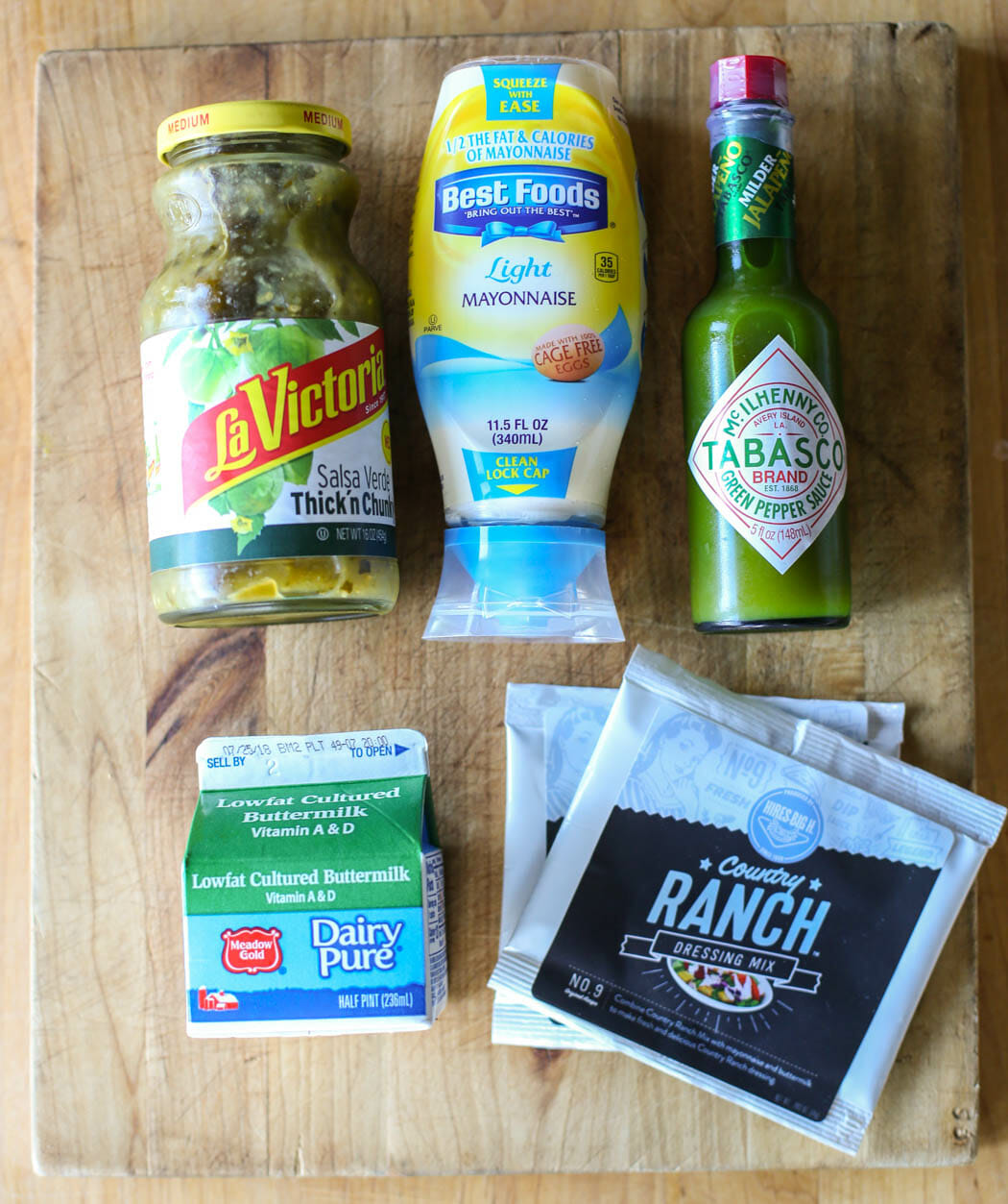 Ingredients for Cafe Rio Copy Cat Creamy Tomatillo Dressing from Our Best Bites