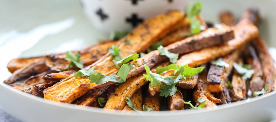 baked sweet potato fries with honey lime dip