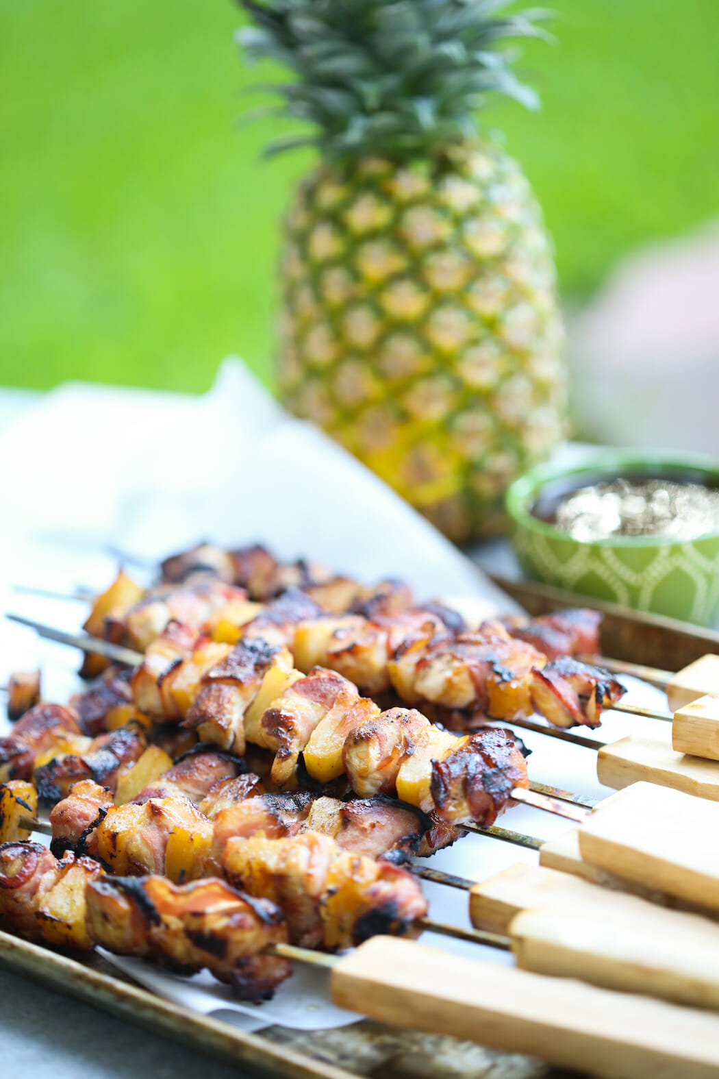 bacon wrapped teriyaki chicken skewers from our best bites