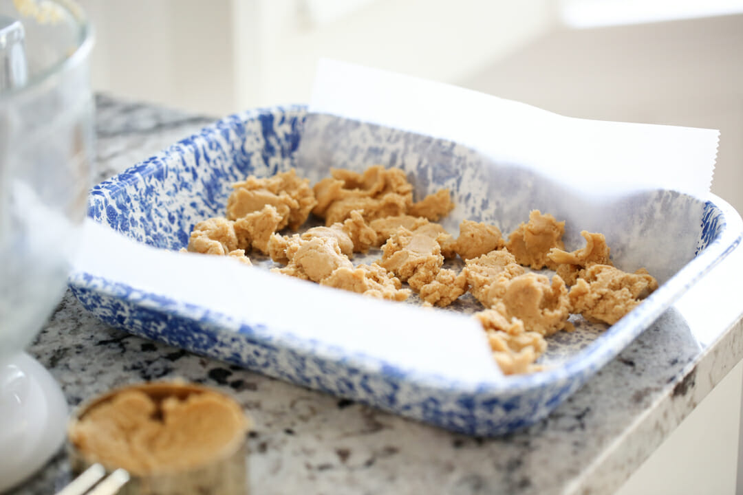 peanut butter cookie dough in pan