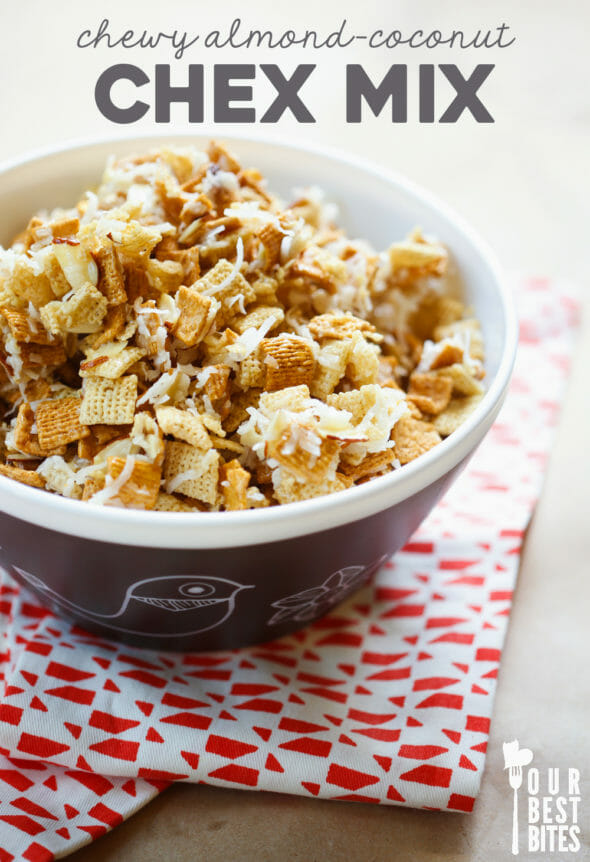 chewy almond coconut chex mix 6 copy - Christmas Crack Recipe Chex