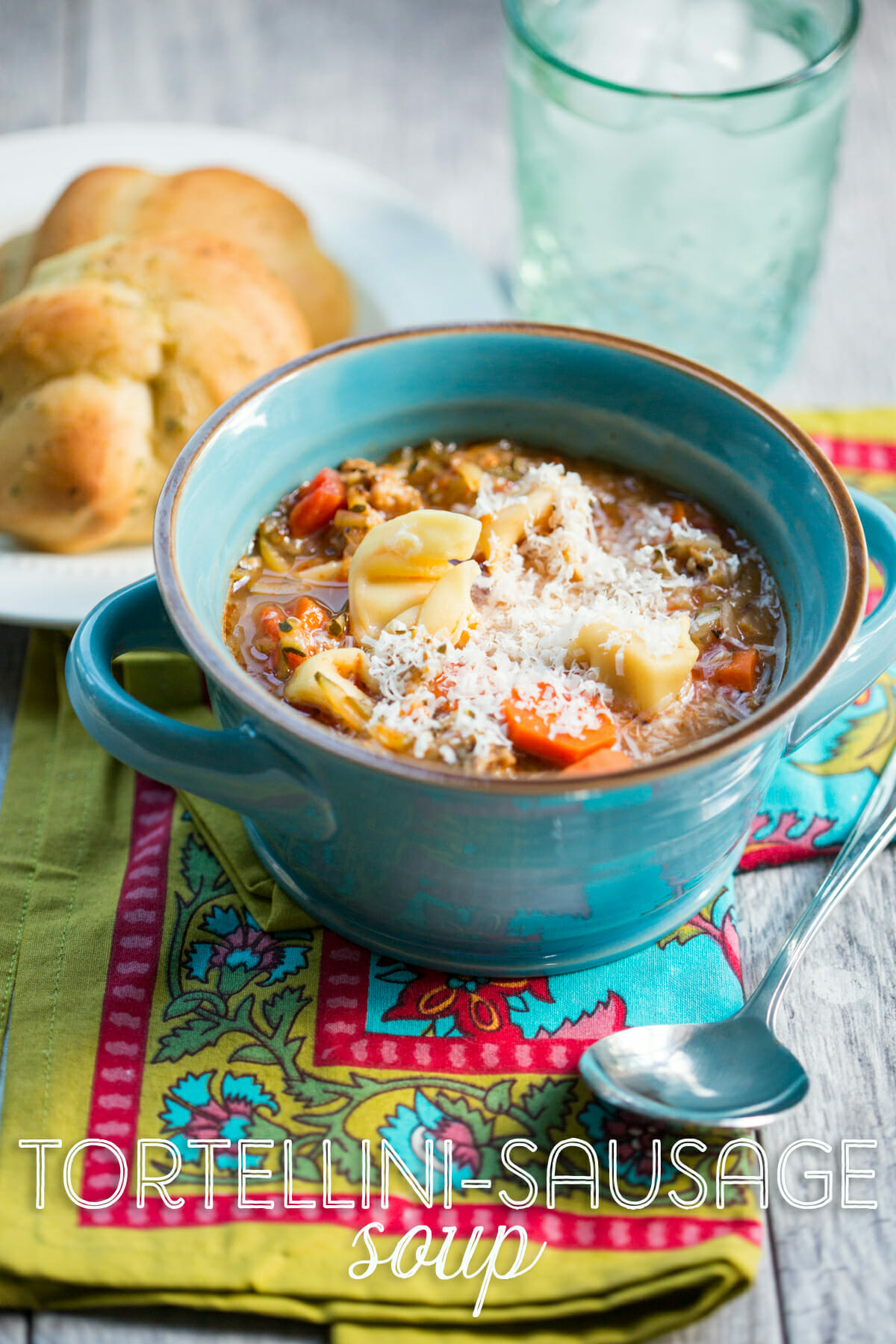 This Tortellini Sausage Soup from Our Best Bites is comfort food at its finest! Loaded with Italian sausage, garden-fresh vegetables, and cheesy tortellini!