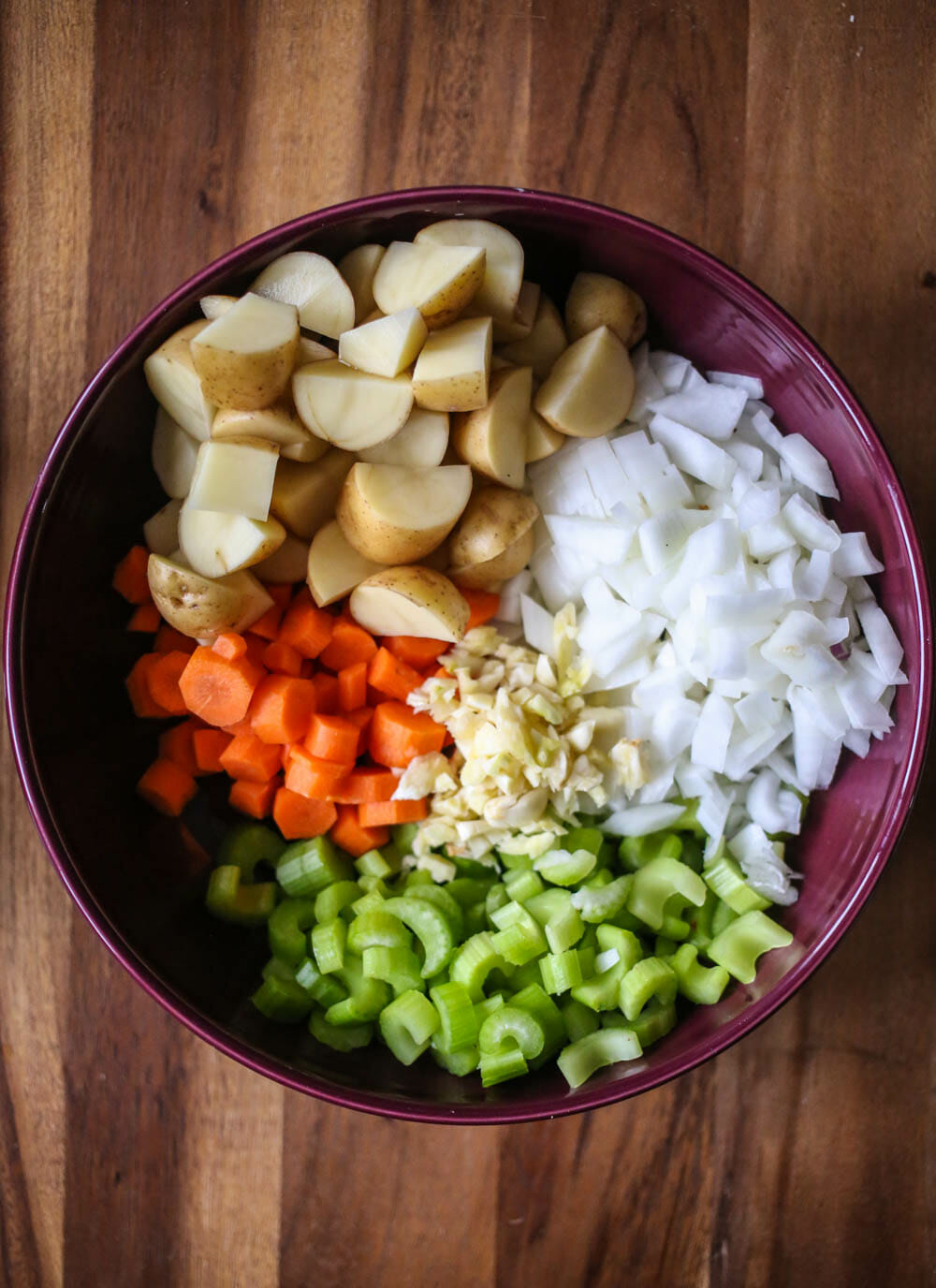chopped veggies for Hearty Beef Stew