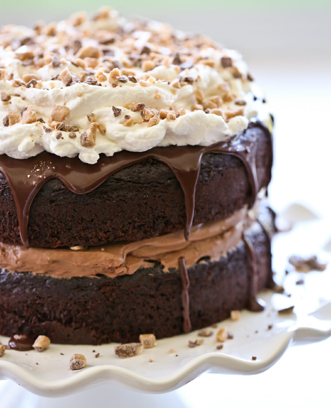 chocolate cake with whipped cream on top