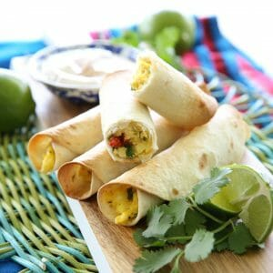 Baked Breakfast Taquitos with Lime-Chipotle Dip