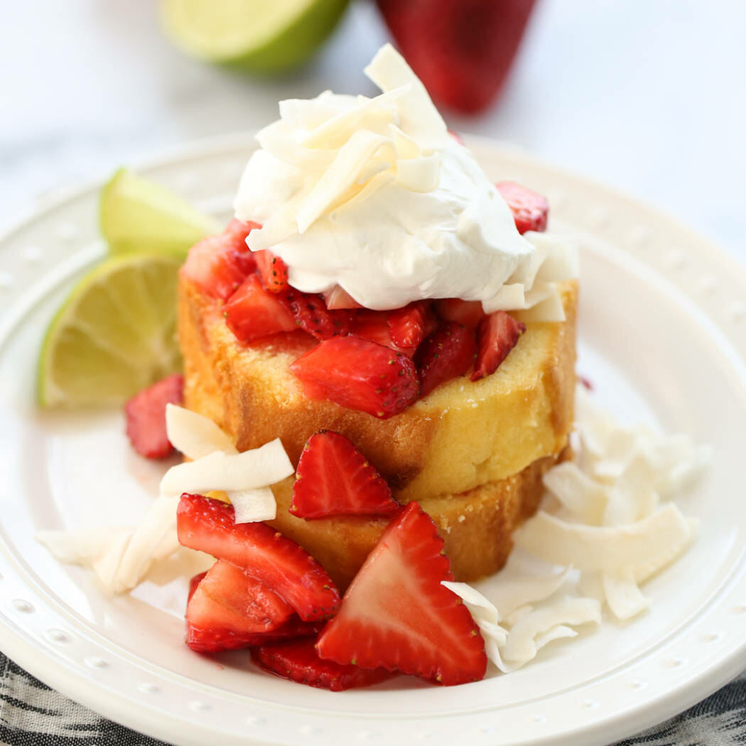 Strawberry Lime Shortcake on a plate