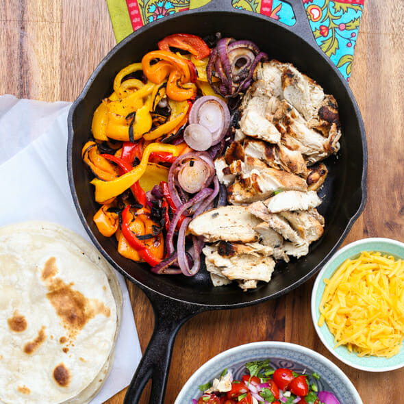 the best chicken or steak fajitas from Our Best Bites