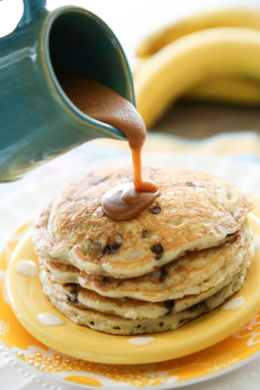 Syrup on maple pancakes