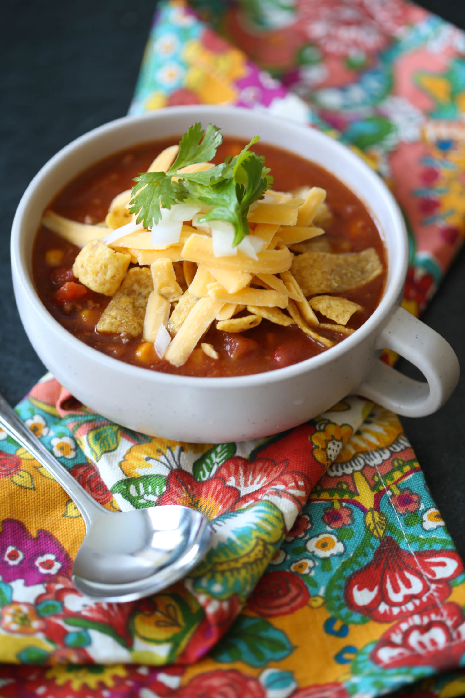 bowl of taco soup from our best bites