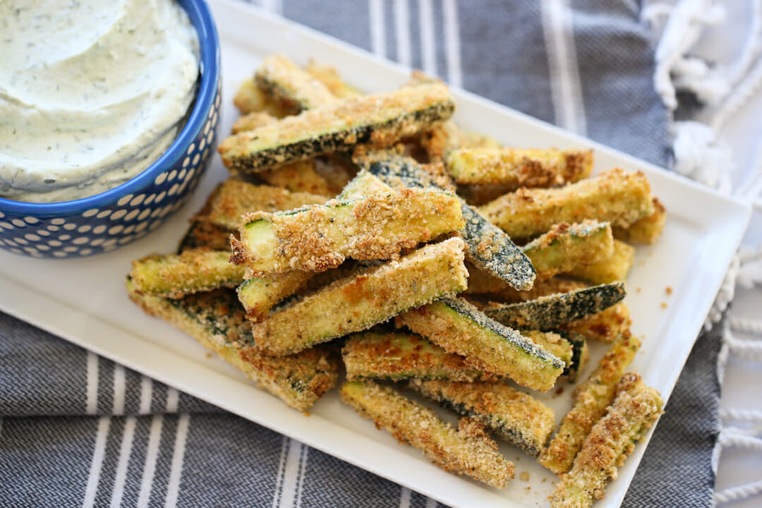 Baked Zucchini Fries on a platter