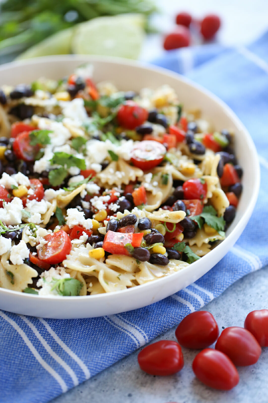 Southwest pasta salad in a bowl