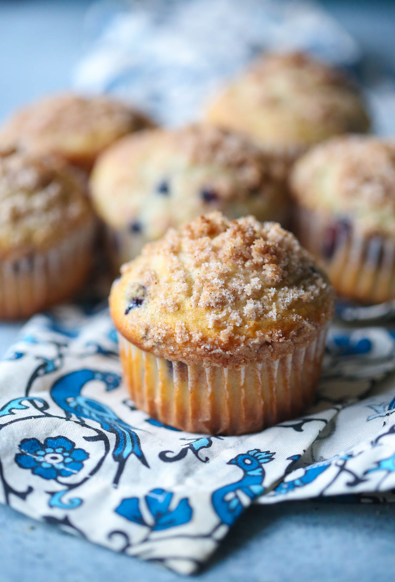 streusel topped blueberry muffins from our best bites