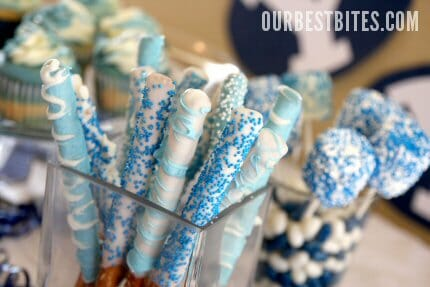 Blue and White Dipped Pretzel Rods