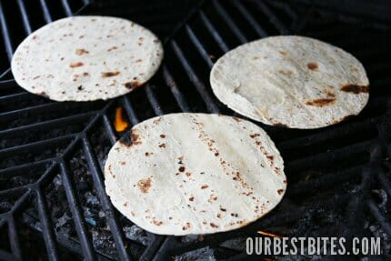 tortillas on warm grill