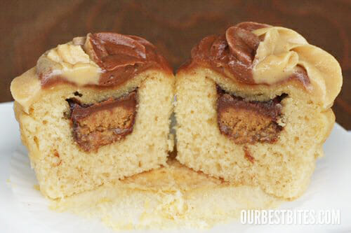 Cake With Icing Baked Inside : Chocolate Peanut Butter Cup Cupcakes - Our Best Bites