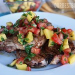 Caribbean Rubbed Pork Chops with Mango Salsa