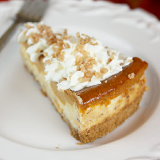 Layered Pumpkin Pie Toffee Cheesecake