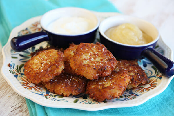 Crispy Yukon Gold Latkes {Potato Pancakes} - Our Best Bites