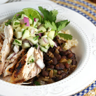 Black Beans & Rice with Chicken and Apple Salsa