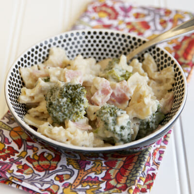 Baked Pasta and Broccoli with Ham and Cheesy-Creamy Cauliflower Sauce