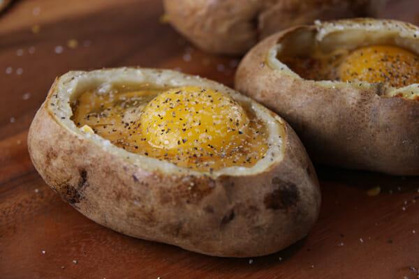 salt and pepper egg stuffed baked potato