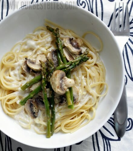 Roasted Asparagus and Mushroom Pasta in Lemon-Cream Sauce