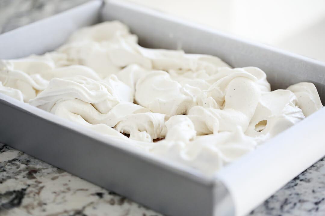 ice cream spreading in pan