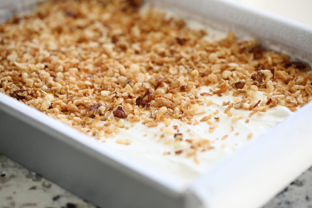 crispy ice cream bars in pan