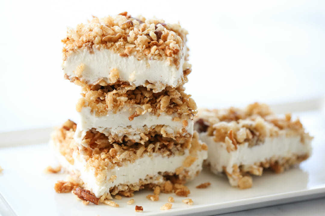 layered ice cream bars on a plate