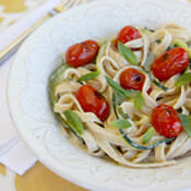Zucchini Ribbon Pasta with {light!} Creamy Lemon-Basil Sauce