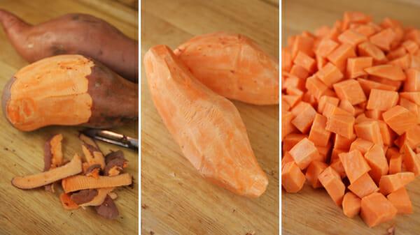 sweet potatoes peeled and chopped