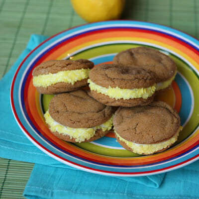 Soft Gingerbread Sandwich Cookies with Lemon-Creme Filling