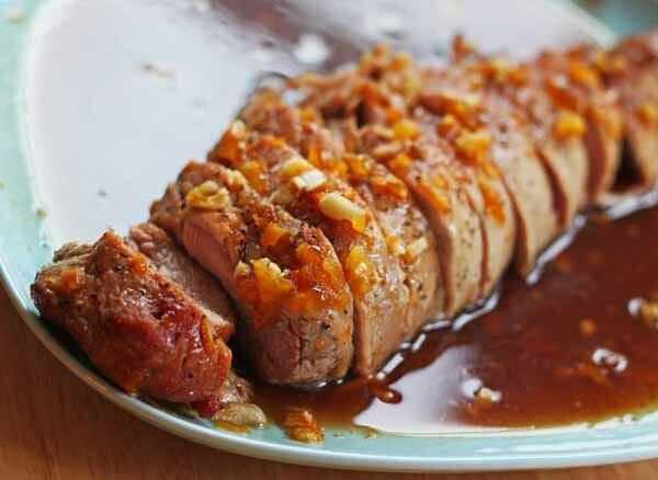 sliced honey orange pork tenderloin