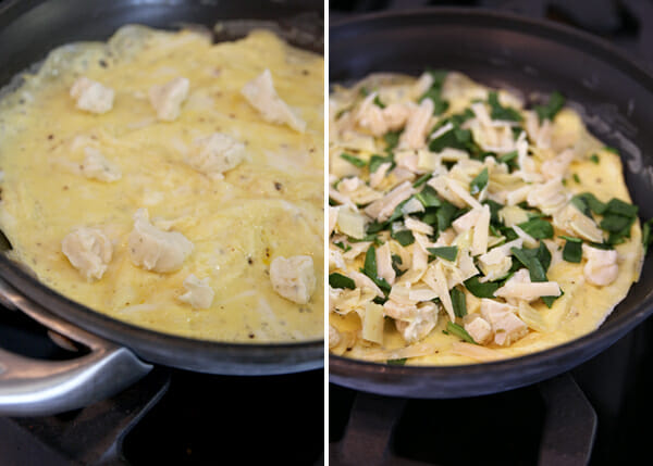Spinach Artichoke Toppings on Eggs