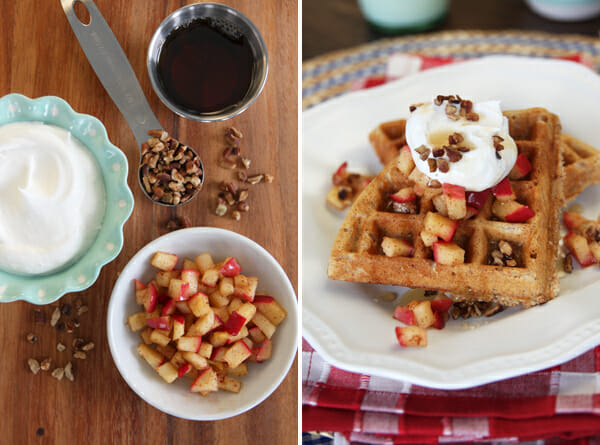 Whole Grain Waffles with Cinnamon Apples and Cream from Our Best Bites